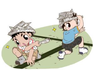 幼稚園の男の子が女の子と遊ぶ戦いごっこ